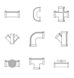 Water conduit icon set outline style vector