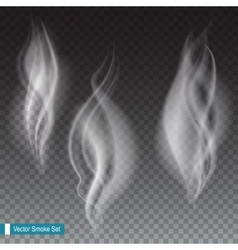 White smoke waves transparent vector