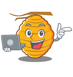 With laptop bee hive character cartoon vector