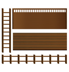 Wooden fence and walls vector