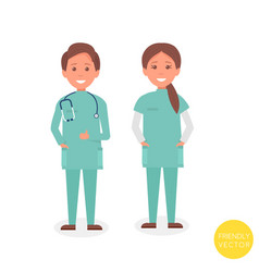 young medical team smiling young woman and man vector image vector image