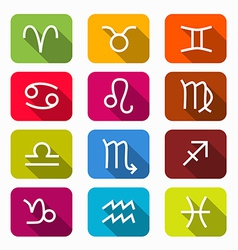 Zodiac Horoscope Colorful Symbols on Rounded vector image vector image