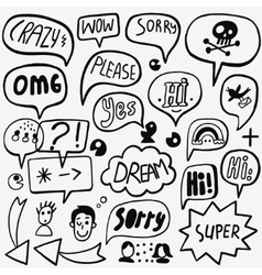 Speech bubble doodles vector image