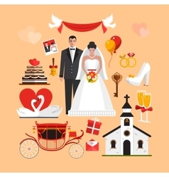 Set of wedding ceremony isolated objects vector