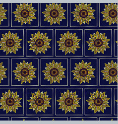 seamless pattern graphic sunflower in dots vector image