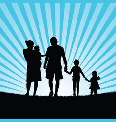 Family enjoy in nature silhouette design color vector