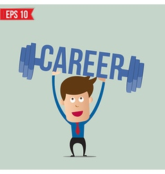 Business man lifting barbell for career concept - vector