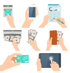 Icon set with hands holding credit card smartphone vector