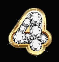 4 number gold and diamonds vector image vector image