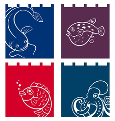 Fish fabric designs vector