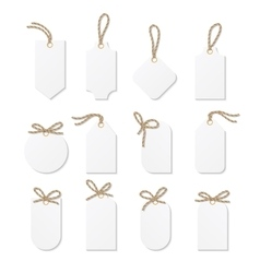 Tags and labels with rope bows ribbons vector