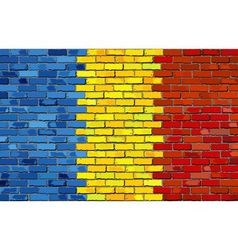 Grunge flag of romania on a brick wall vector