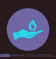 Hand holding a fire sign vector