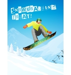 Snowboarding snowboarder in jump and flight vector