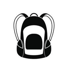 Touristic backpack black simple icon vector