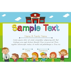 Diploma template with teachers and students vector