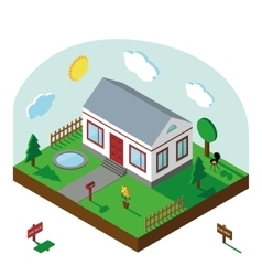 Isometric house3d village landscapesummer yard vector