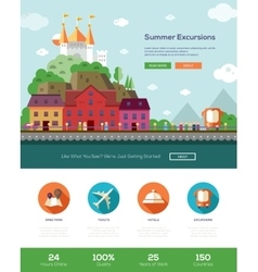 Summer vacation traveling website template with vector