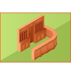 Reception hotel table flat isometric vector