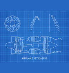 airplane jet engine with turbine blueprint vector image