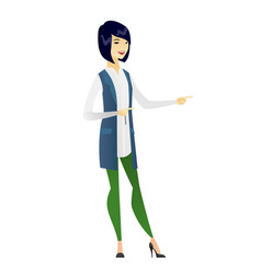 Asian business woman pointing to the side vector
