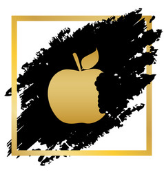Bited apple sign golden icon at black vector
