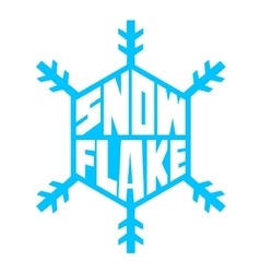 blue snowflake lettering white background vector image vector image