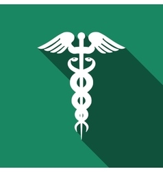 Caduceus medical symbol with long shadow vector image vector image