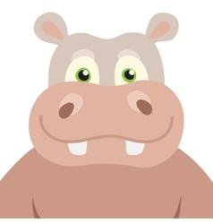 Cartoon hippopotamus portrait vector