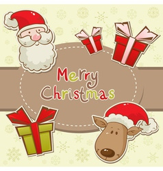 christmas elements santadeer card vector image