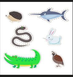 Cute animals cartoon flat stickers set vector