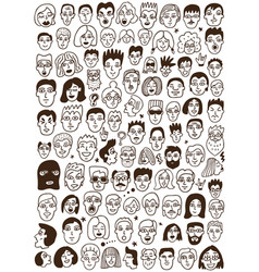 faces doodles set vector image