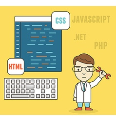 Flat linear concept of programmer or coder vector image
