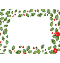 Framed holly isolated on white background eps 10 vector