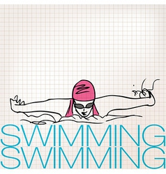 Girl swimming in butterfly stroke style vector image vector image