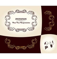 grapes vintage frame baroque ancient vector image vector image