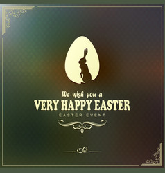 greeting card with egg rabbit and happy easter vector image