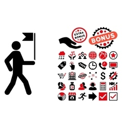 Guide Man With Flag Flat Icon with Bonus vector image