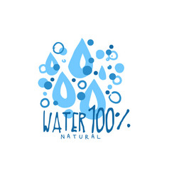 Hand drawn signs of pure water drops for logo vector