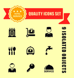 hotel and travel icons with red tape vector image vector image