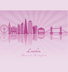 london v2 skyline in purple radiant orchid vector image
