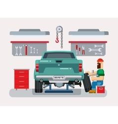 Mechanic repairs car in the garage vector