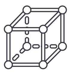 molecular cube line icon sign vector image