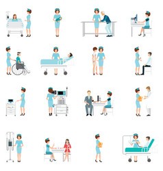nurse healthcare decorative icons set with vector image