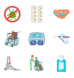 Outpatient icons set cartoon style vector