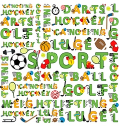 Seamless sport pattern of words vector