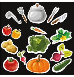 Set of stickers with colorful hand drawn vector