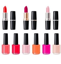 Set with lipsticks and nail varnish vector image vector image