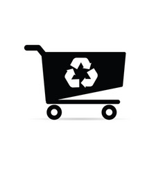 Shopping basket with recycle icon on it vector