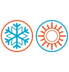 Snowflake and sun isolated icon vector